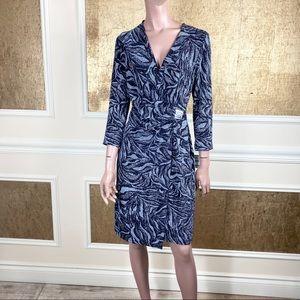 NWT! Anne Klein black silver glitter wrap dress 8